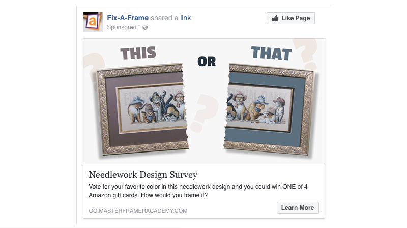 A Facebook advertisement example that leads to content